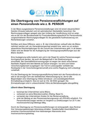Die Übertragung von Pensionsverpflichtungen auf einen ... - Gowin