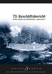 Geschäftsbericht Hotel Saratz AG 2012/13