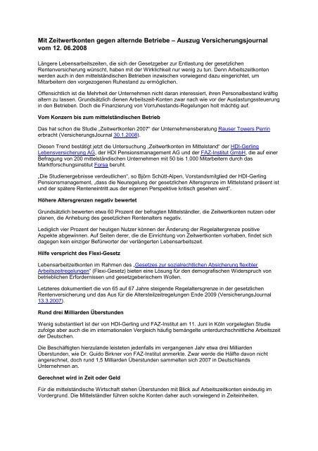 Mit Zeitwertkonten gegen alternde Betriebe – Auszug ... - Gowin