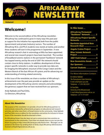 Download web-optimized newsletter - AfricaArray - Penn State ...