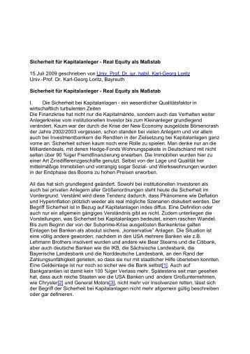 Sicherheit für Kapitalanleger - Real Equity als Maßstab 15 ... - Gowin