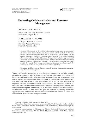 Evaluating Collaborative Natural Resource Management