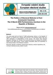 The Politics of Electoral Reforms in Post - Evropská volební studia