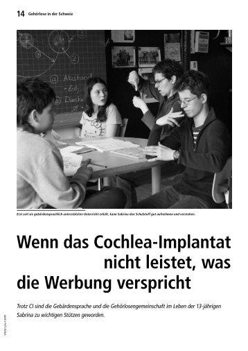 Wenn das Cochlea-Implantat nicht leistet, was die ... - Taubenschlag