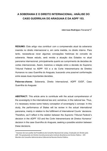a soberania eo direito internacional: análise do caso ... - CEDIN