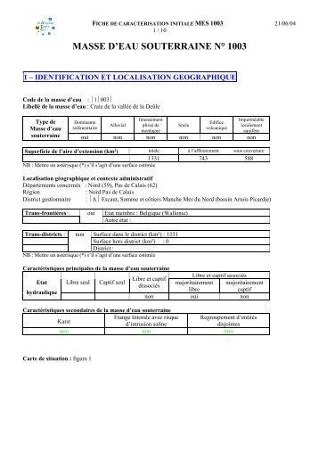 masse d'eau souterraine n° 1003 - Agence de l'eau Artois Picardie