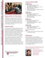 BUSINESS PLAN COMPETITION SPONSORSHIP - College of ...
