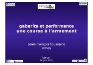 Evolution des Gabarits par Pr J.F TOUSSAINT - Extranet FFVB