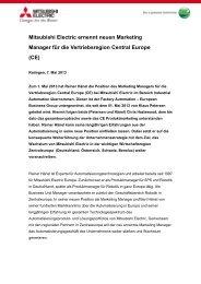 Mitsubishi Electric ernennt neuen Marketing Manager für die ...