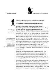 Innovative Angebote für neue Mitglieder - Verband Deutscher Gebirgs