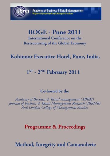 ROGE - Pune 2011 - The Academy of Business and Retail ...