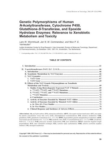 Genetic Polymorphisms of Human N-Acetyltransferase, Cytochrome ...