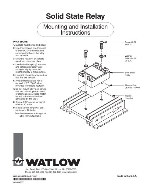 Solid State Relay (SSR) Mounting and Installation - Watlow on
