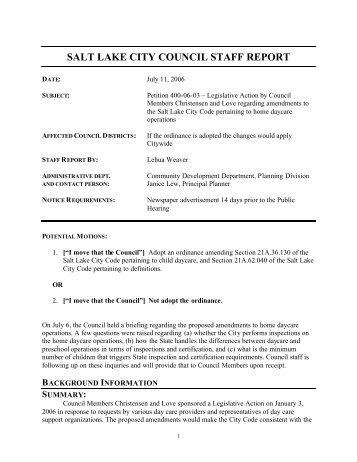 Daycare staff report July 6 2006 - SLC Infobase