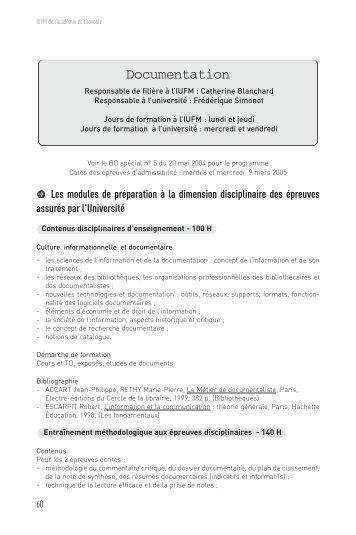 Documentation - Site auxiliaire de l'IUFM de l'académie de Grenoble