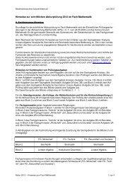 Hinweise zur schriftlichen Abiturprüfung 2012 im Fach Mathematik