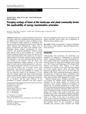 Foraging ecology of bison at the landscape and plant community ...