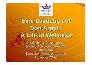 Laudatio für Dr. Don Ardell - Deutscher Wellness Verband eV