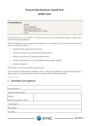 Personal data disclosure request form - Afnic