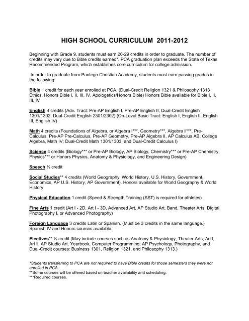 High School Curriculum 2011 2012 Pantego Christian Academy