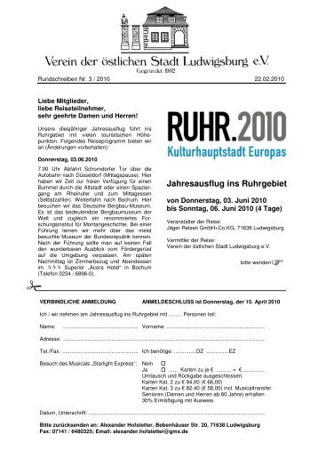 Jahresausflug ins Ruhrgebiet - Oststadtverein Ludwigsburg