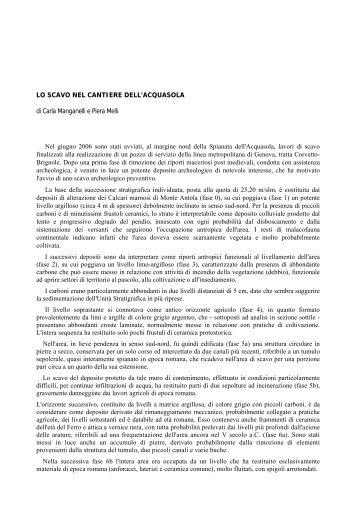 LO SCAVO NEL CANTIERE DELL'ACQUASOLA di ... - Urban Center