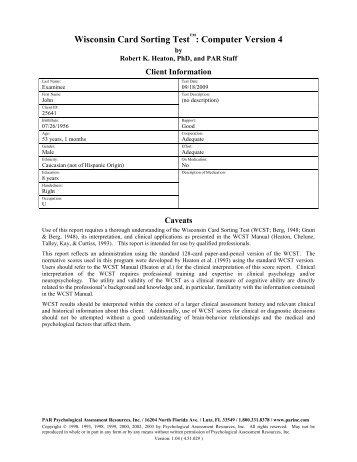 Wcst Score Report  Psychological Assessment Resources Inc