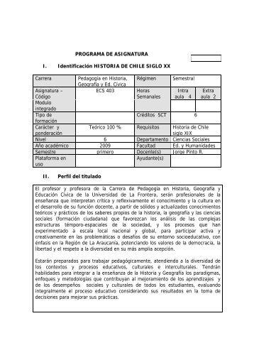 historia chile sxx - Webmail Universidad de la Frontera