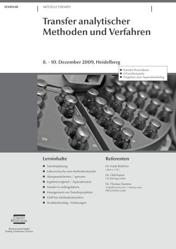 Transfer analytischer Methoden und Verfahren - GMP-Navigator