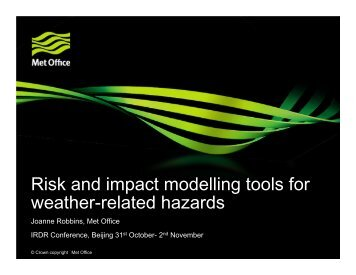 Risk and impact modelling tools for weather-related hazards - IRDR