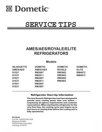 Dometic Service manuals Rv