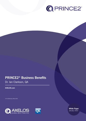 PRINCE2 Business Benefits - Best Management Practice