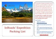 InRoads' Expedition Packing List