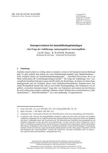 DIREKTER ANLEGERSCHUTZ - Dr. iur. Klaus-R. Wagner