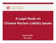 A Legal Study on Chinese Nuclear Liability Issues - Burges Salmon