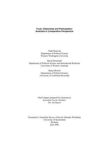 Trust, Citizenship and Participation: Australia in Comparative ...