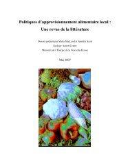Politiques d'approvisionnement alimentaire local : Une revue de la ...