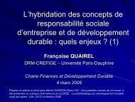 Modèles de responsabilité sociale des entreprises - Institut Finance ...