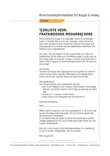 tjekliste vedr. fratrædende medarbejdere - BAR Bygge & Anlæg