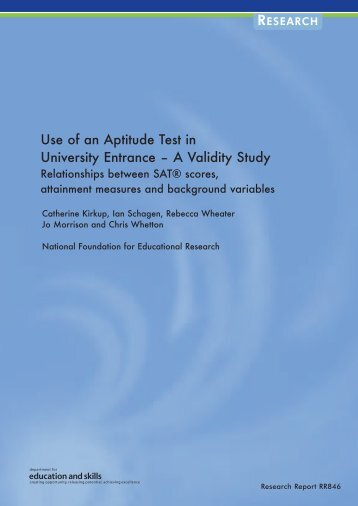 Use of an Aptitude Test in University Entrance – A Validity Study