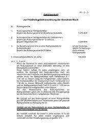 Gebührentarif zur Friedhofsgebührenordnung der Gemeinde Much