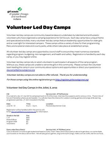 Volunteer Led Day Camps - Girl Scouts