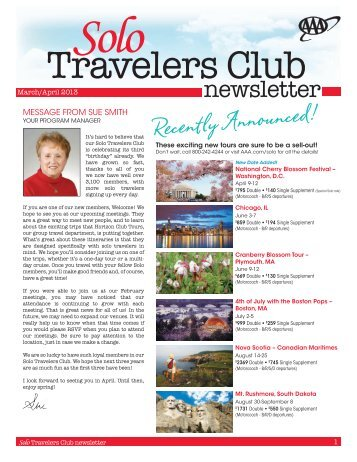 Solo Travelers Club - AAA Western & Central New York