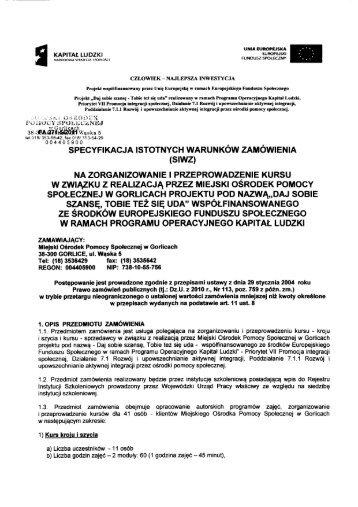SIWZ - Miejski Ośrodek Pomocy Społecznej w Gorlicach