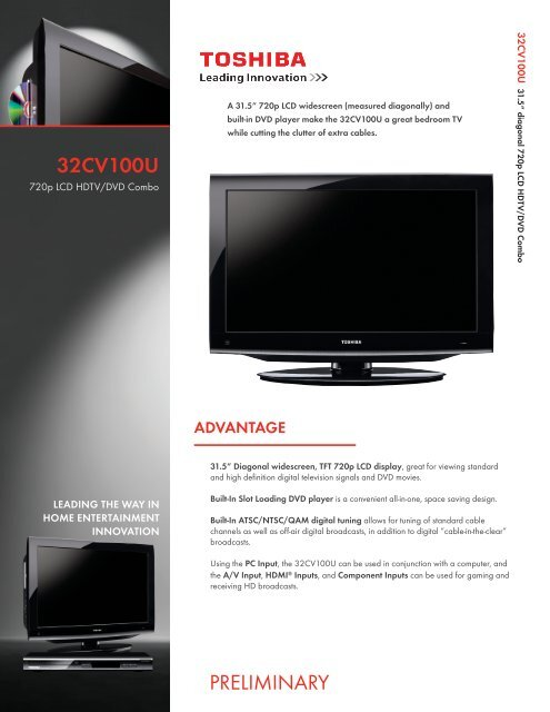 32CV100U PRELIMINARY - Toshiba Display Systems