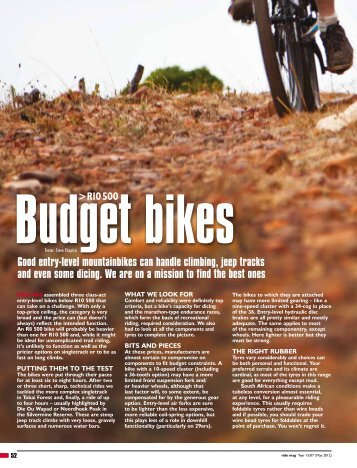 Good entry-level mountainbikes can handle ... - High School MTB
