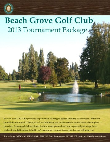 2013 Tournament Package - Beach Grove Golf Club