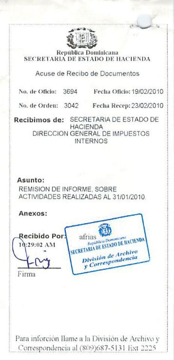 Informe ejecutivo de la gestion realizada por la oficina for Oficina virtual ministerio de hacienda