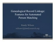 Genealogical Record Linkage: Features for Automated Person ...