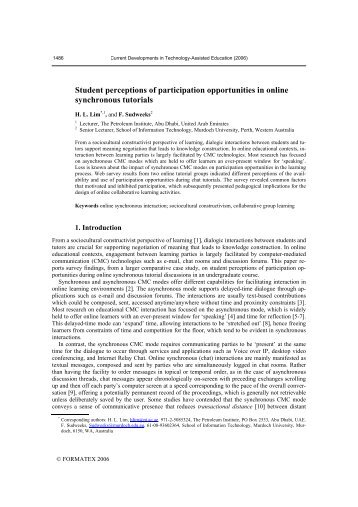 Student perceptions of participation opportunities in online ...